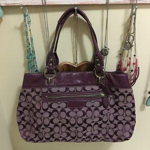 Purple Coach - signature canvas - lightly used
